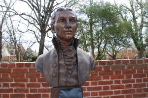 Front view of the James Monroe bust.